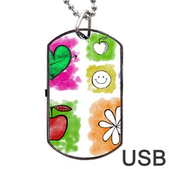 A Set Of Watercolour Icons Dog Tag USB Flash (Two Sides)
