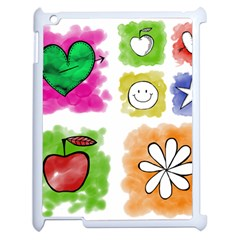 A Set Of Watercolour Icons Apple iPad 2 Case (White)