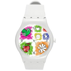 A Set Of Watercolour Icons Round Plastic Sport Watch (M)