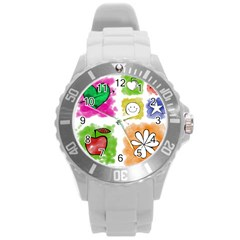A Set Of Watercolour Icons Round Plastic Sport Watch (L)