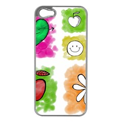 A Set Of Watercolour Icons Apple iPhone 5 Case (Silver)