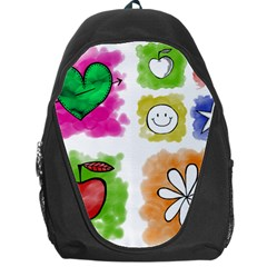 A Set Of Watercolour Icons Backpack Bag