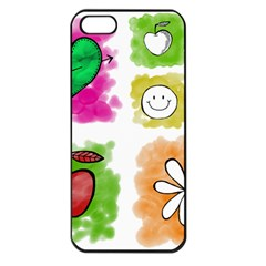 A Set Of Watercolour Icons Apple iPhone 5 Seamless Case (Black)