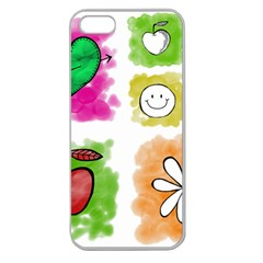 A Set Of Watercolour Icons Apple Seamless iPhone 5 Case (Clear)