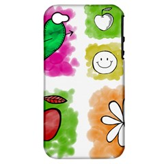 A Set Of Watercolour Icons Apple iPhone 4/4S Hardshell Case (PC+Silicone)