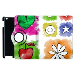 A Set Of Watercolour Icons Apple iPad 3/4 Flip 360 Case