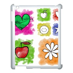 A Set Of Watercolour Icons Apple iPad 3/4 Case (White)