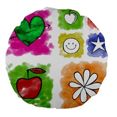 A Set Of Watercolour Icons Large 18  Premium Round Cushions