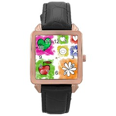 A Set Of Watercolour Icons Rose Gold Leather Watch