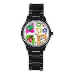 A Set Of Watercolour Icons Stainless Steel Round Watch