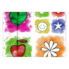 A Set Of Watercolour Icons Samsung Galaxy Tab 10.1  P7500 Flip Case