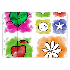 A Set Of Watercolour Icons Samsung Galaxy Tab 8.9  P7300 Flip Case