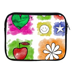A Set Of Watercolour Icons Apple iPad 2/3/4 Zipper Cases