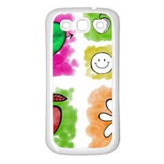 A Set Of Watercolour Icons Samsung Galaxy S3 Back Case (White)