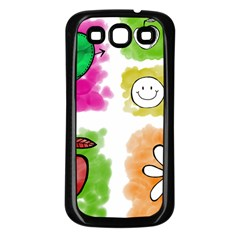 A Set Of Watercolour Icons Samsung Galaxy S3 Back Case (Black)