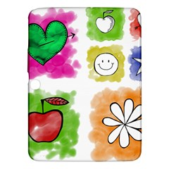 A Set Of Watercolour Icons Samsung Galaxy Tab 3 (10.1 ) P5200 Hardshell Case