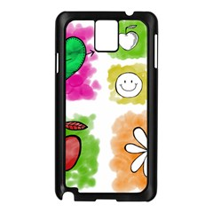 A Set Of Watercolour Icons Samsung Galaxy Note 3 N9005 Case (Black)