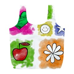 A Set Of Watercolour Icons Full Print Recycle Bags (L)
