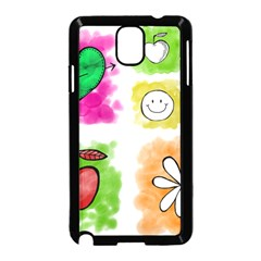 A Set Of Watercolour Icons Samsung Galaxy Note 3 Neo Hardshell Case (Black)