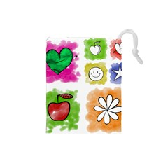 A Set Of Watercolour Icons Drawstring Pouches (Small)