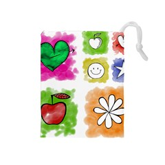 A Set Of Watercolour Icons Drawstring Pouches (Medium)