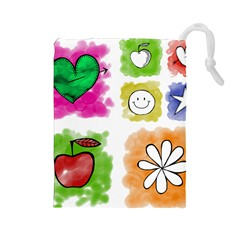 A Set Of Watercolour Icons Drawstring Pouches (Large)