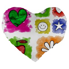 A Set Of Watercolour Icons Large 19  Premium Flano Heart Shape Cushions