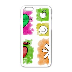 A Set Of Watercolour Icons Apple iPhone 6/6S White Enamel Case
