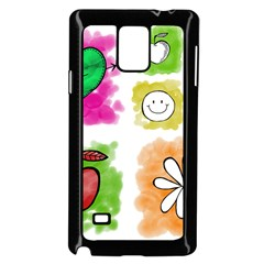 A Set Of Watercolour Icons Samsung Galaxy Note 4 Case (Black)