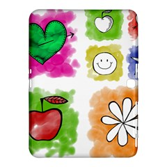 A Set Of Watercolour Icons Samsung Galaxy Tab 4 (10.1 ) Hardshell Case