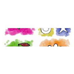 A Set Of Watercolour Icons Satin Scarf (Oblong)