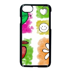 A Set Of Watercolour Icons Apple iPhone 7 Seamless Case (Black)