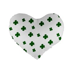 St  Patrick s Clover Pattern Standard 16  Premium Flano Heart Shape Cushions by Valentinaart