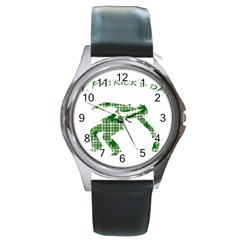 St  Patrick s Day Round Metal Watch by Valentinaart