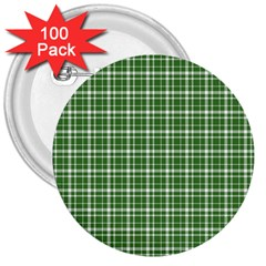 St  Patricks Day Plaid Pattern 3  Buttons (100 Pack)  by Valentinaart
