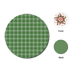 St  Patricks Day Plaid Pattern Playing Cards (round)  by Valentinaart