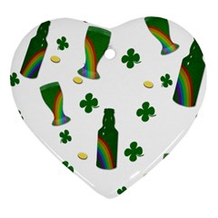 St  Patricks Day  Heart Ornament (two Sides) by Valentinaart