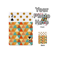 Golden Dots And Triangles Pattern Playing Cards 54 (mini)  by TastefulDesigns