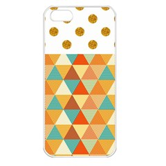 Golden Dots And Triangles Pattern Apple Iphone 5 Seamless Case (white) by TastefulDesigns