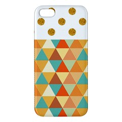 Golden Dots And Triangles Pattern Apple Iphone 5 Premium Hardshell Case by TastefulDesigns