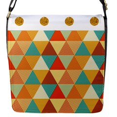 Golden Dots And Triangles Pattern Flap Messenger Bag (s) by TastefulDesigns
