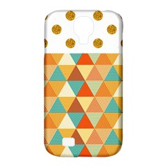 Golden Dots And Triangles Pattern Samsung Galaxy S4 Classic Hardshell Case (pc+silicone) by TastefulDesigns