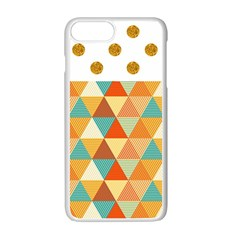 Golden Dots And Triangles Pattern Apple Iphone 7 Plus White Seamless Case by TastefulDesigns
