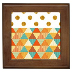 Golden Dots And Triangles Patern Framed Tiles by TastefulDesigns