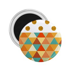 Golden Dots And Triangles Patern 2 25  Magnets by TastefulDesigns