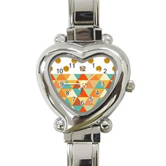 Golden Dots And Triangles Patern Heart Italian Charm Watch by TastefulDesigns