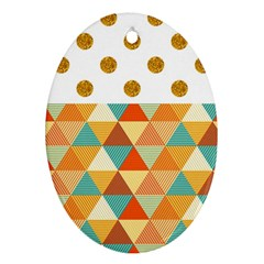 Golden Dots And Triangles Patern Oval Ornament (two Sides) by TastefulDesigns