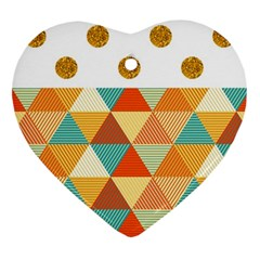 Golden Dots And Triangles Patern Heart Ornament (two Sides) by TastefulDesigns