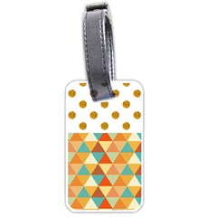 Golden Dots And Triangles Patern Luggage Tags (two Sides) by TastefulDesigns