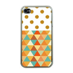 Golden Dots And Triangles Patern Apple Iphone 4 Case (clear) by TastefulDesigns